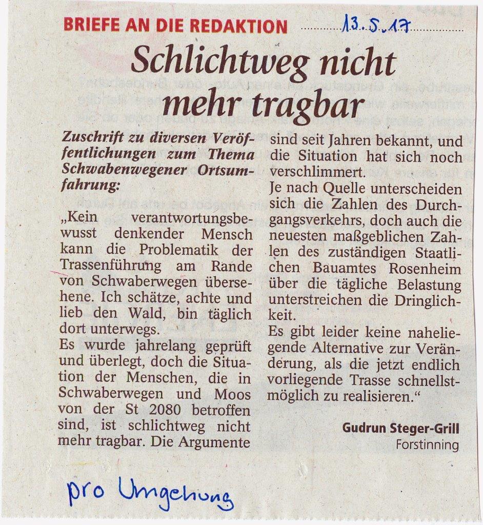Leserbrief pro Umgehung Frau Steger- Grill 13-5-2017