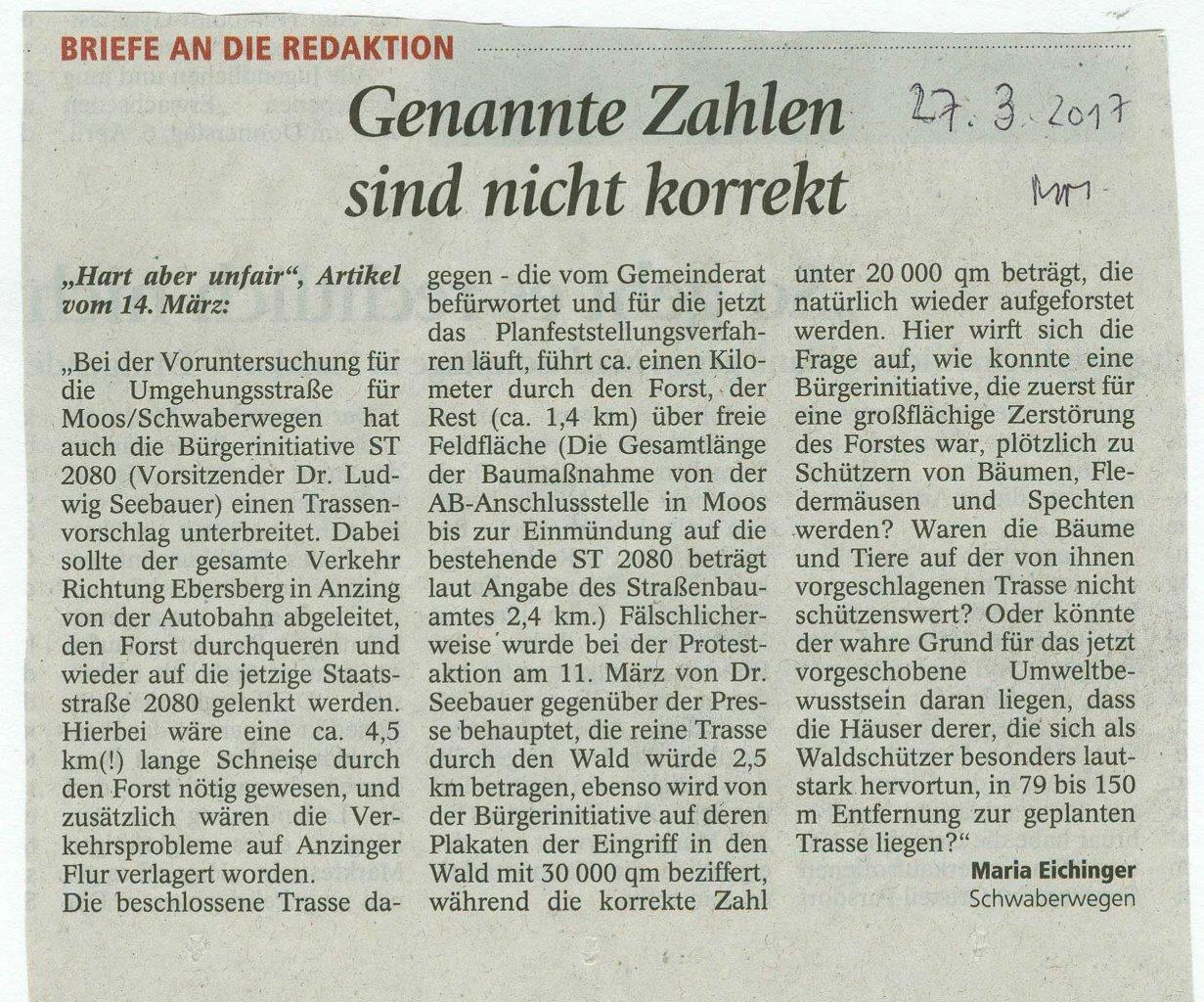 Leserbrief pro Umgehung vom 27-3-2017 Frau Eichinger